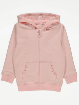 Pink Zip Up Ruffled Pocket Hoodie