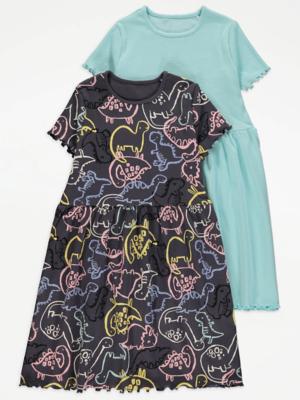 Dinosaur Print Ribbed Dresses 2 Pack