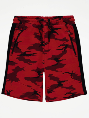 Red Camo Print Shorts