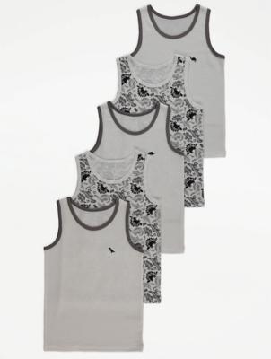 White Dinosaur Print Vests 5 Pack