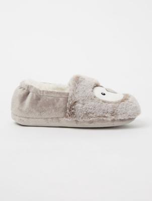 Fleece Penguin Full Back Slippers
