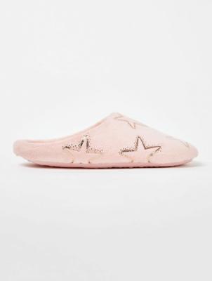 Pink Star Print Fleece Mule Slippers