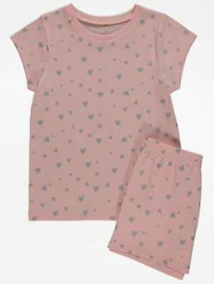 Pink Glitter Heart Print Short Pyjamas