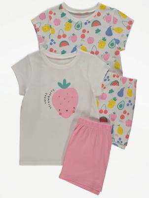 Bright Fruit Print Short Pyjamas 2 Pack