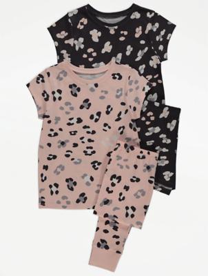Leopard Print Short Sleeve Pyjamas 2 Pack