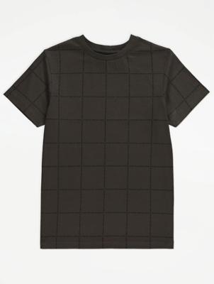 Khaki Grid Print T-Shirt