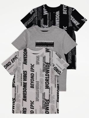 Slogan Print T-Shirts 3 Pack