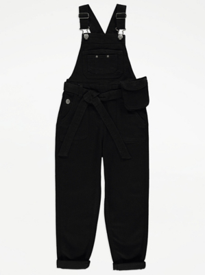 Black Denim Pocket Detail Dungarees