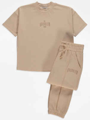 Beige Brooklyn Slogan T-Shirt and Joggers Outfit
