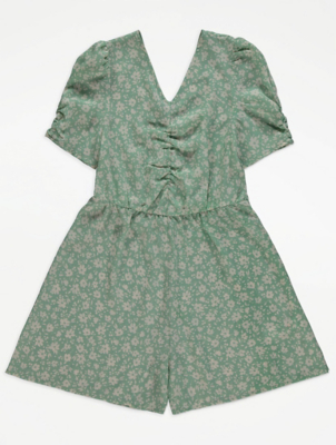 Green Floral Print Short Sleeve Woven Playsuit