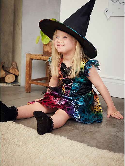 Halloween Rainbow Witch Fancy Dress Costume