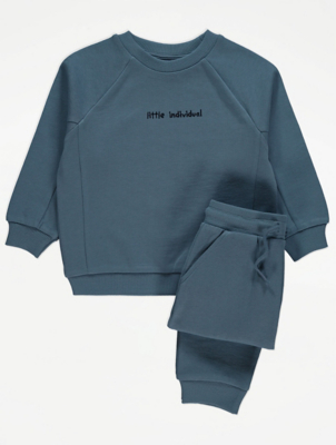 Blue Slogan Sweatshirt and Joggers Outfit