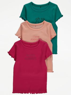 Slogan Print Ribbed T-Shirts 3 Pack