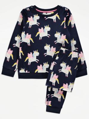 Navy Unicorn Print Pyjamas
