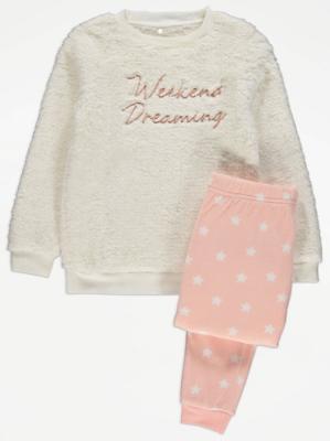 Star Print Fleece Slogan Christmas Pyjamas Gift Set