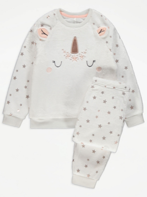 White Fleece Unicorn Christmas Pyjamas Gift Set