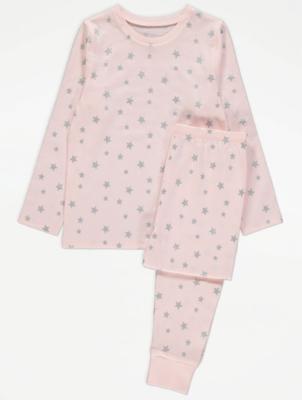 Pink Star Print Long Sleeve Pyjamas