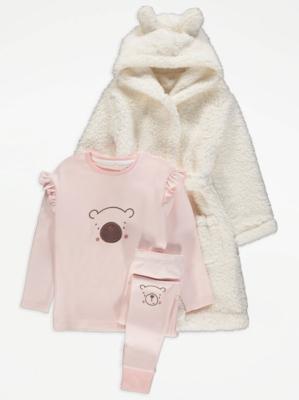 Pink Bear Pyjamas and Fleece Dressing Gown Set
