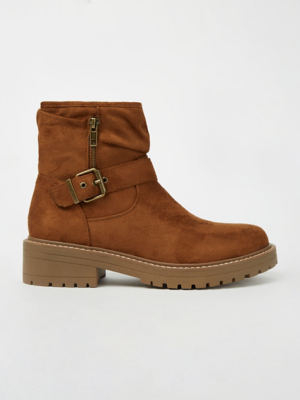 Tan Brown Slouch Low Heel Boot