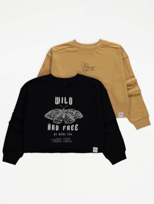 Slogan Print Sweatshirts 2 Pack