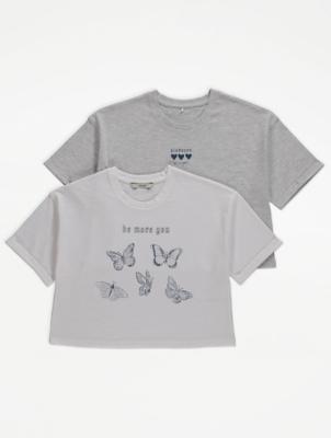 Slogan Print Boxy T-Shirts 2 Pack