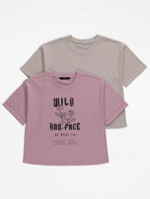 Roll Cuff Boxy T-Shirts 2 Pack