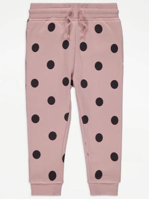 Pink Polka Dot Cuffed Joggers