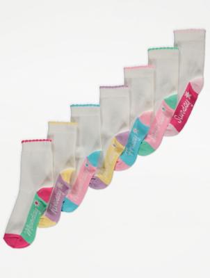 Weekday Slogan Print Ankle Socks 7 Pack