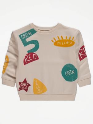 Cream Slogan Print Sweatshirt