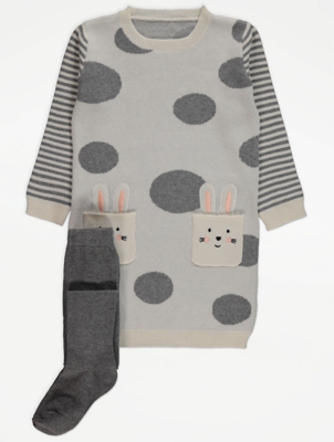 Patterned Knit Bunny Dress and Tights Outfit