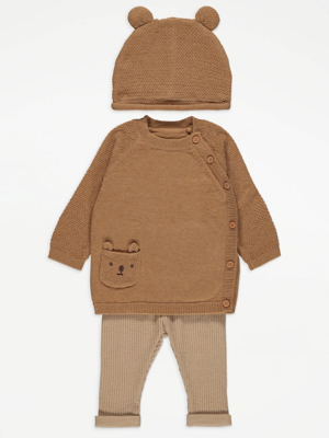 Brown Bear Jumper Leggings and Hat Outfit