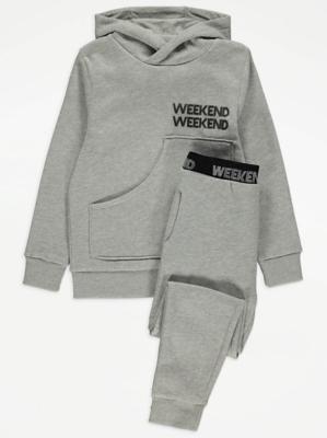 Grey Weekend Slogan Hooded Pyjamas