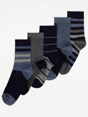 Stripe and Plain Ankle Socks 5 Pack