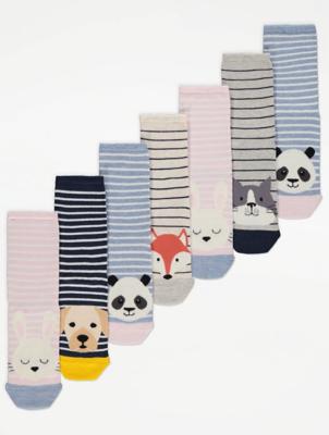 Animal Print Striped Super Soft Ankle Socks 7 Pack