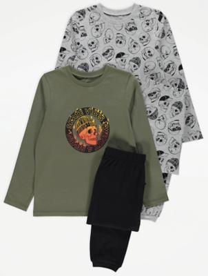 Skull Print Pyjamas 2 Pack