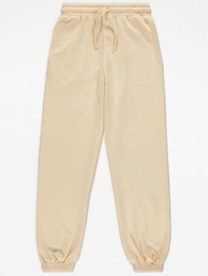 Pale Yellow Cuffed Jersey Joggers