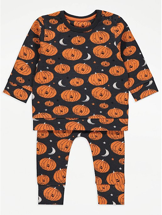 Halloween Black Pumpkin Print Top and Joggers Outfit