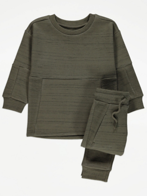Khaki Ribbed Panel Sweatshirt and Joggers Outfit