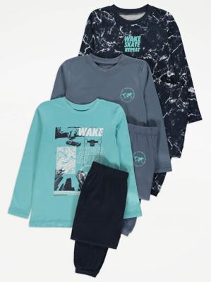 Skate Graphic Long Sleeve Pyjamas 3 Pack