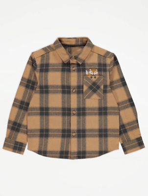 Tan Fox Print Check Shirt