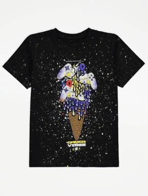 Black Ice Cream Gaming T-Shirt