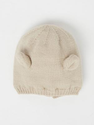 Beige Bear Ear Knitted Hat