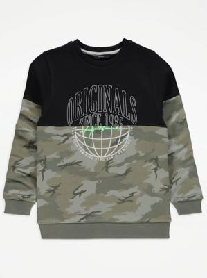Khaki Camo Panelled Sweatshirt