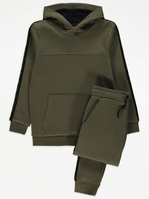 Khaki Panelled Hoodie and Joggers Outfit