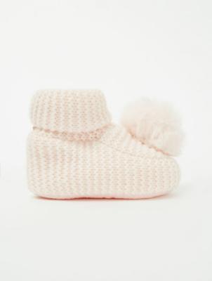 Pale Pink Knit Pom-Pom Trim Booties