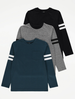 Long Sleeve Patch Pocket Tops 3 Pack