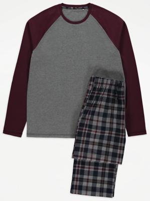 Grey Raglan Checked Pyjamas