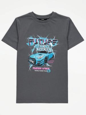 Charcoal Lightning Car Graphic T-Shirt