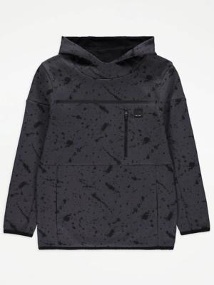 Dark Grey Splatter Print Hoodie
