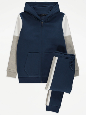 Navy Cut and Sew Zip Up Hoodie and Joggers Outfit